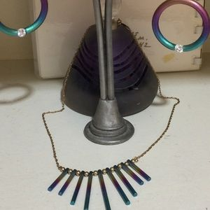 Vintage Niobium necklace & Earrings with Crystal